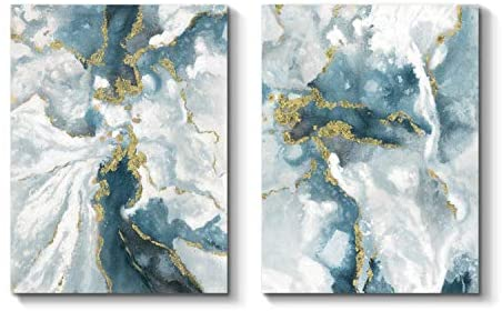 Abstract Wall Art Canvas Picture: Abstract Artwork Hand Painted Painting for Living Room Office (24'' x 18'' x 2 Panels)