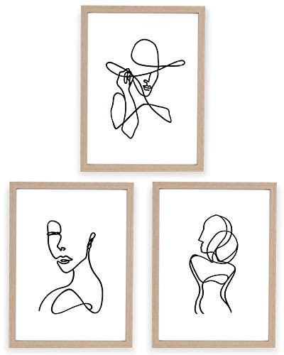 ArtbyHannah Framed Minimalist Line Wall Art Decor Abstract Woman's Body Shape Picture Frame Collage Set Modern Poster Print Artwork for Home Bedroom Decoration (12 x16 Inch, 3 pieces)