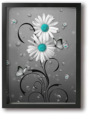 BLOOM SOMEWHERE Rustic Frame Wall Art Daisy Flower Blue and White Vintage Canvas Painting Abstract Artwork Decor For Home Ready to Hang 12x16 inches