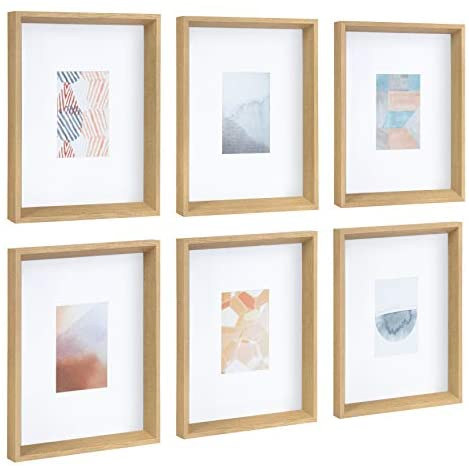 Kate and Laurel Calter Framed Under Glass Modern Abstract Multicolored Art Prints, Natural Finish Frame, 6 Piece Set