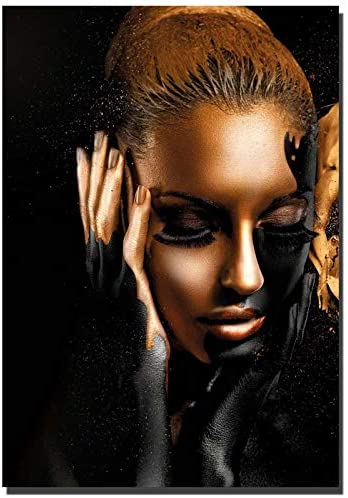 Abstract Poster Printed Golden Fashion Gold Figers and face sexy women Wall Art Canvas Print Frame Picture Painting for Room Home Decorations 24x36inch