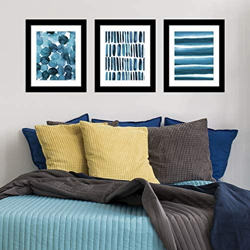Paper Riot Co. 8 x 10 inch Watercolor 3-Pack Art Prints, Blue Abstract