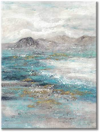 Abstract Landscape Canvas Grey Artwork: Abstract Mountain Painting Wall Art on Canvas for Bedroom