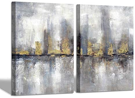 SD SOFT DANCE Gray Abstract City Canvas Wall Art: Cityscape Picture Skyscraper Tower Buildings Artwork Painting for Bedroom (18'' x 24'' x 2 Panels)