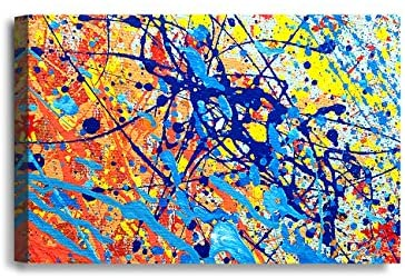 IPIC - Abstract Jackson Pollock Style Artwork. Giclee Print on Canvas Wall Art for Home Decor. 36x24x1.5